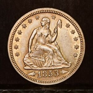 1853 LIBERTY SEATED QUARTER   ARROWS & RAYS   CH AU DETAILS  37923