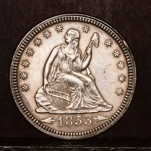 1853 LIBERTY SEATED QUARTER   ARROWS & RAYS   CH AU DETAILS  37925
