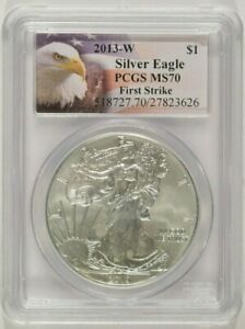 2013 W BURNISHED AMERICAN SILVER EAGLE $1 PCGS MS70 FIRST STRIKE 27823626