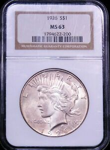 1926 PEACE SILVER DOLLAR NGC MS63 ROSE HUED WITH GREAT LUSTER PQ G229