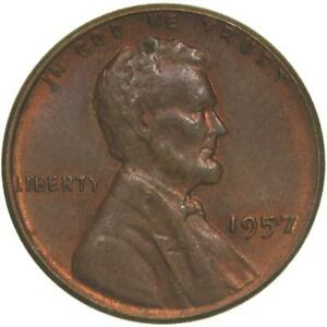 1957 LINCOLN WHEAT CENT ABOUT UNCIRCULATED PENNY AU