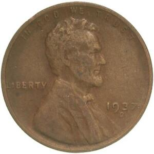 1937 D LINCOLN WHEAT CENT FINE PENNY VF