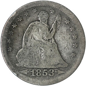 1853 SEATED LIBERTY QUARTER 90  SILVER ARROWS & RAYS GOOD GD SEE PICS G761