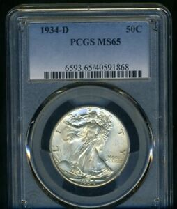 1934 D WALKING LIBERTY PCGS MS65     LUSTROUS BRIGHT WHITE COIN