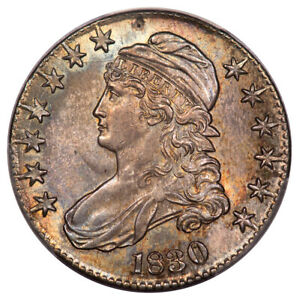 1830 50C LARGE 0 CAPPED BUST HALF DOLLAR PCGS MS63 0 123