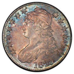 1825 50C OVERTON 114 CAPPED BUST HALF DOLLAR PCGS MS62  CAC