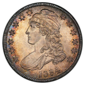 1834 50C LARGE DATE SMALL LETTERS CAPPED BUST HALF DOLLAR PCGS MS65 O 108