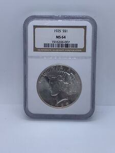 1925 PEACE SILVER DOLLAR $1 NGC MS64