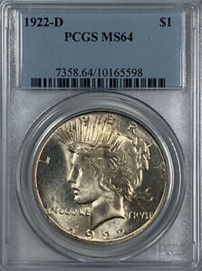 1922 D PEACE DOLLAR MS 64 PCGS CERTIFIED BEAUTIFUL LUSTROUS SILVER GOLD TONING