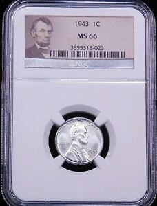 1943 P LINCOLN STEEL CENT NGC MS66 BRIGHT LINCOLN HOLDER SUPER LUSTER PQ G271