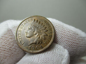 1904 US INDIAN HEAD CENT PENNY AU ABOUT UNCIRCULATED MINT LUSTER L IS PLAIN