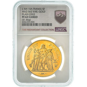 Click now to see the BUY IT NOW Price! [475197] MONEDA FRANCIA UNION ET FORCE 5 FRANCS AN 10 PARIS NGC PF62 CAM
