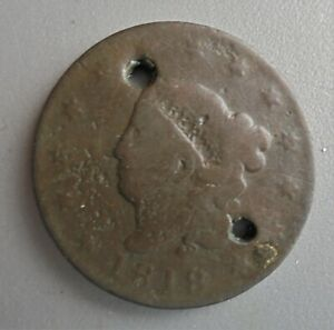 1818 LARGE CENT USED AS A HUMDINGER ONE OF THE FIRST COLONIAL CHILDRENS TOYS.