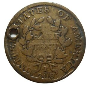 HALF CENT/PENNY 1804 SPIKED CHIN SHATTERED CUD REVERSE HOLED