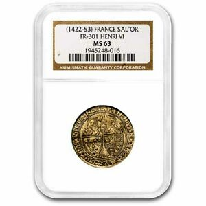 Click now to see the BUY IT NOW Price! FRANCE GOLD SALUT D'OR HENRY VI  1422 1453 AD  MS 63 NGC  FR 301    SKU237689