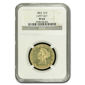 Click now to see the BUY IT NOW Price! 1862 $10 LIBERTY GOLD EAGLE PF 64 NGC  J 297 GILT    SKU210197