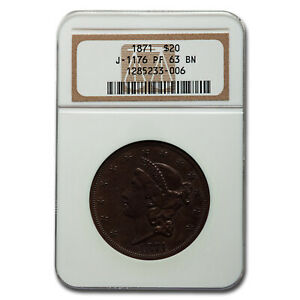 Click now to see the BUY IT NOW Price! 1871 PATTERN COPPER $20 JUDD 1176 PF 63 BN NGC   SKU213025