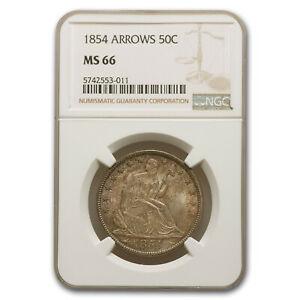 Click now to see the BUY IT NOW Price! 1854 LIBERTY SEATED HALF DOLLAR MS 66 NGC  ARROWS    SKU229986