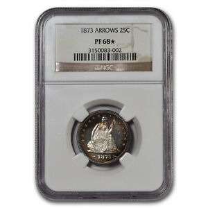 Click now to see the BUY IT NOW Price! 1873 LIBERTY SEATED QUARTER PF 68  NGC  ARROWS    SKU198017