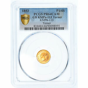 Click now to see the BUY IT NOW Price! [908014] MNZE GROBRITANNIEN 1/4 SOVEREIGN 1853 LONDON PCGS PR64CAM UNZ