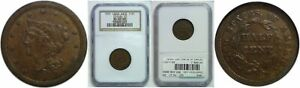 1849 HALF CENT NGC MS 61 LARGE DATE C 1