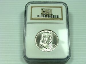 1957 P FRANKLIN HALF DOLLAR NGC MS65 WHITE COIN  CLEAN FIELDS & DEVICES    076