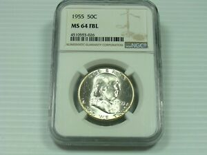 1955 P FRANKLIN HALF DOLLAR NGC MS64  WHITE COIN  CLEAN FIELDS & DEVICES