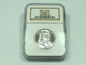 1957 P FRANKLIN HALF DOLLAR NGC MS65 WHITE COIN  CLEAN FIELDS & DEVICES. AMAZING