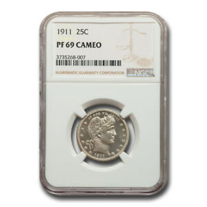 Click now to see the BUY IT NOW Price! 1911 BARBER QUARTER PF 69 CAMEO NGC   SKU225236