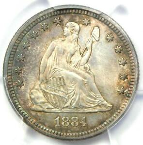 1884 SEATED LIBERTY QUARTER 25C   PCGS UNCIRCULATED DETAIL  UNC MS     DATE