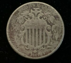 1867 P US 5 CENT SHIELD COIN   WITHOUT RAYS  C3576
