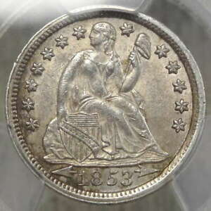 1853 SEATED LIBERTY DIME CHOICE ALMOST UNCIRCULATED PCGS AU 58 ORIGINAL