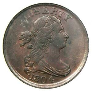 1804 DRAPED BUST HALF CENT 1/2C   CERTIFIED NGC MS61  BU UNC    $1 500 VALUE