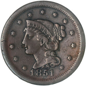 1851 BRAIDED HAIR LARGE CENT FINE VF SEE PICS G071