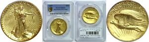 1907 $20 GOLD COIN PCGS MS 62 HIGH RELIEF   WIRE EDGE