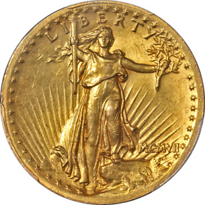 1907 SAINT GAUDENS GOLD $20 HIGH RELIEF   WIRE EDGE PCGS MS62 KEY DATE