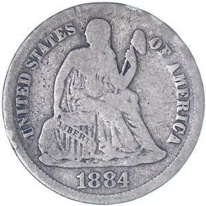 1884 SEATED LIBERTY DIME 90  SILVER GOOD VG  SEE PICS K158