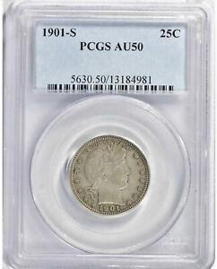 Click now to see the BUY IT NOW Price! 1901 S BARBER QUARTER DOLLAR 25 CENTS PCGS AU50 KEY DATE ABOUT UNCIRCULATED