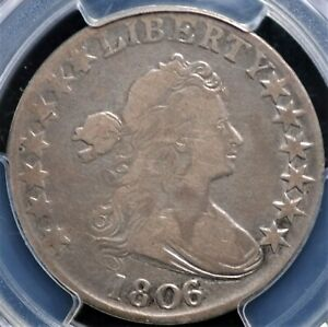 1806/5 DRAPED BUST HALF PCGS FINE 12 O 103 LARGE STARS APPEALING WHOLESOME LOOK