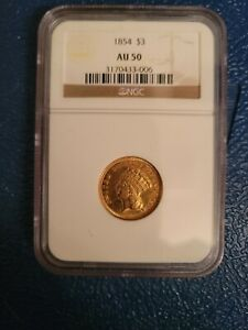 1854 $3 GOLD INDIAN PRINCESS PCGS AU 50 FIRST YEAR OF ISSUE CAC