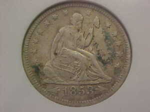 1853 O NEW ORLEANS SEATED LIBERTY QUARTER ARROWS RAYS ANACS XF40 DETAILS TONED