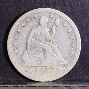 1853 LIBERTY SEATED QUARTER   ARROWS & RAYS   VG DETAILS  39643