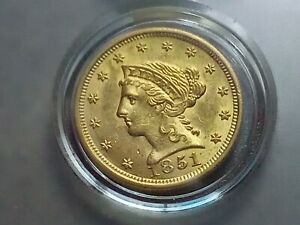 1851 US $2 1/2 DOLLAR GOLD LIBERTY WITH LAMINATION ERROR  RIGHT WING