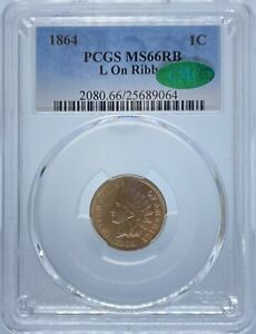 1864 INDIAN CENT L ON RIBBON MS66RB PCGS CAC  PA25689064