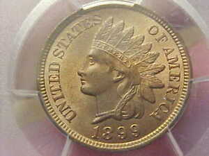 CHOICE 1899 INDIAN HEAD CENT PENNY PCGS MS65 RB RED BROWN MORE RED 4 DIAMONDS
