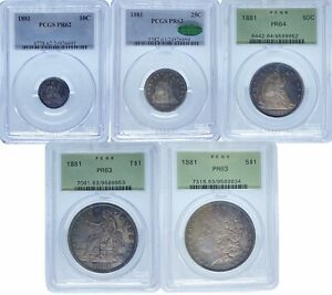Click now to see the BUY IT NOW Price! 1881 5PC PROOF SET PR62 PR64 PCGS  PA24926691