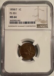 Click now to see the BUY IT NOW Price! 1858/7 FLYING EAGLE CENT FS 301 MS64 NGC  PA3643905002