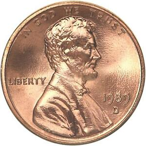 1989 D LINCOLN MEMORIAL CENT CHOICE BU PENNY US COIN
