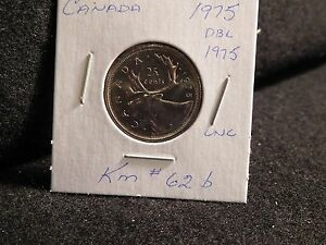 Click now to see the BUY IT NOW Price! CANADA :1975 ERROR   DOUBLE 1975    25 CENTS   COIN      UNC.   103  KM  62B
