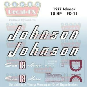 1956 Johnson 30 HP RJE-18 Decals Electric SeaHorse Outboard Repro Beige Control